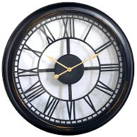 30 Inch Open Dial Black Wall Clock with Roman Numerals