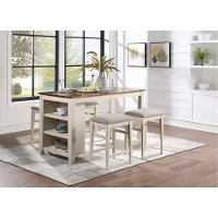 Contemporary White 5 Piece Counter Height Dining Room Set - Winslow