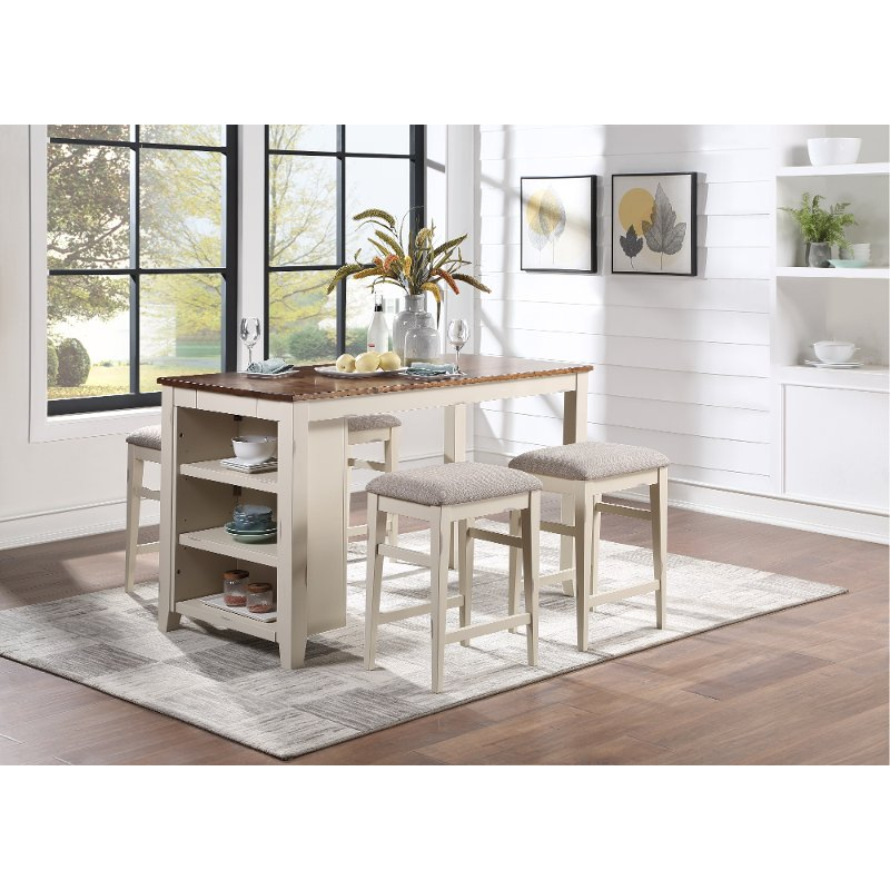 Contemporary White 5 Piece Counter Height Dining Room Set Winslow Rc Willey Furniture Store