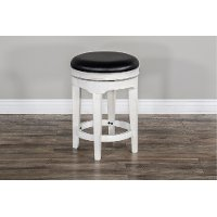 French Country 24 Inch White Two-Tone Swivel Counter Height Stool - Bourbon County