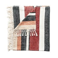 Multi Color Striped Cotton Blend Throw Blanket with Fringe