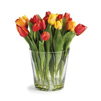 Multi Color Faux Dutch Tulip Arrangement in Clear Vase