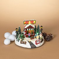 Multi Color Lighted Musical Moving Holiday Tree Farm Decoration