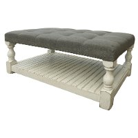 Whitewash Country Coffee Table with Fabric Top - Stone