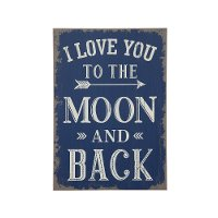Blue MDF I Love You To The Moon Wall Decor