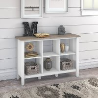 White and Gray 6-Cube Bookcase - Mayfield