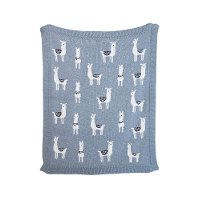 Gray Cotton Knit Llama Throw Blanket