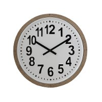 Round White and Black Metal Wall Clock with Wood Frame