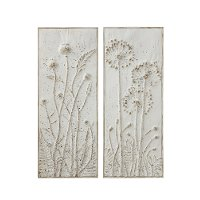 Assorted Distressed White Embossed Flower Metal Wall Decor