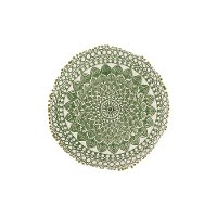 Round Green Embroidered Throw Pillow with Pom-Pom Trim