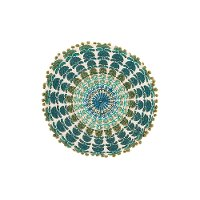 Blue and Green Embroidered Round Throw Pillow