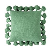 Green Cotton Throw Pillow with Tassels
