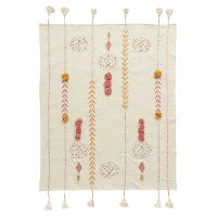 Cream Embroidered Throw Blanket with Tassels and Applique