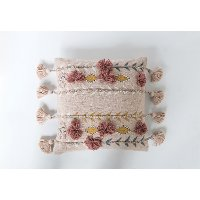 Pink Cotton Embroidered Throw Pillow with Tassels