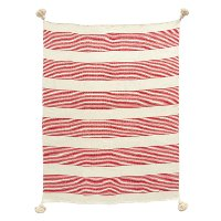 Red Woven Striped Throw Blanket with Tassels