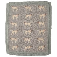 Blue Cotton Knit Dog Baby Blanket Throw