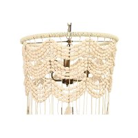 Cotton, Metal and Wood Bead Pendant Lamp with Tassels