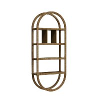 Wrapped Rattan Oval Wall Shelf with 6 Compartments