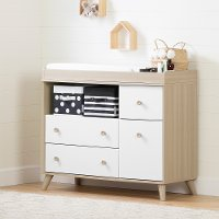 12172 Modern Soft Elm and White Changing Table - Yodi