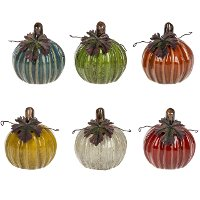 Assorted Ceramic Pumpkin with Iron Leaf