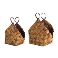 18 Inch Brown Woven Meta-Sequoia Basket with Handles