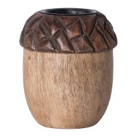 Hand-Carved Mango Wood Acorn Tea Light Candle Holder