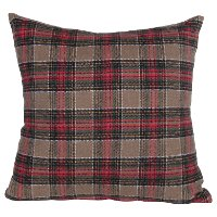 Red, Green and Tan Plaid Brushed Cotton Throw Pillow