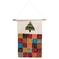 Multi Color Hanging Felt Advent Holiday Calendar with Pockets