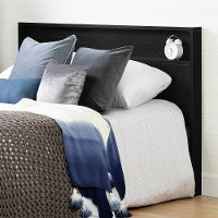 12280 Contemporary Black Queen Headboard with Shelf - Kanagane