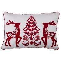 20 Inch White and Red Deer Holiday Throw Pillow