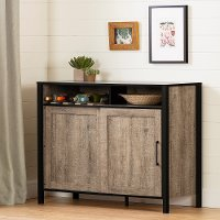 12463 Weathered Oak and Black Buffet Cabinet - Munich