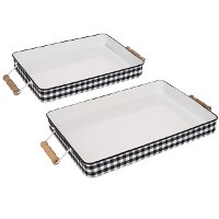 13 Inch Black and White Plaid Metal Enamelware Tray