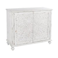 Distressed White Carved Door Chest - Modern Eclectic