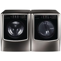 KIT LG Laundry Pair with Front Load Washer and Steam Dryer - Black Stainless Steel