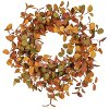 Orange, Red and Green Fall Leaf Floral Wreath Arrangement