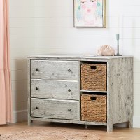 12687 Classic Seaside Pine 3 Drawer Dresser with Baskets - Cotton Candy