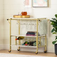 12804 White Faux Marble and Gold Bar Cart - Maliza
