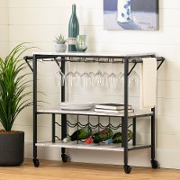 12805 White Faux Marble and Black Bar Cart - Maliza