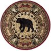 NTR6550-8RND 8' Round Black Bear Novelty Lodge Area Rug - Nature