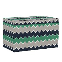 4325STBRSCHVNVGRNOGA Contemporary Navy and Green Chevron Storage Bench