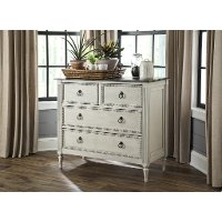 Traditional Antique Off White and Gray 4 Drawer Accent Chest