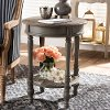 148-8185-RCW Farmhouse Brown Round End Table - Jaynie