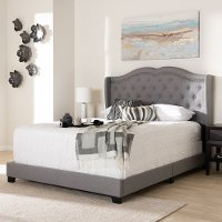 Contemporary Light Gray Upholstered Full Bed - Lainey