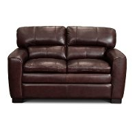 Contemporary Port Burgundy Leather Loveseat - Leland
