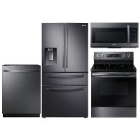 KIT Samsung 4 Piece Electric Kitchen Appliance Package with 27.8 cu. ft. French Door Refrigerator - Black Stainless Steel