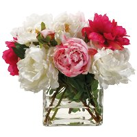 Pink Mixed Faux Peony Arrangement in Glass Vase