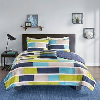 Navy, Gray and Green Twin Bradley 3 Piece Bedding Collection