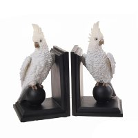 White Cockatiel Bookend Pair