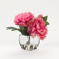 Faux Pink Peony Arrangement in Glass Cube