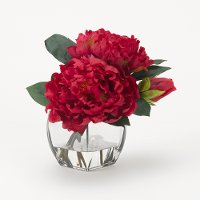 Faux Pink Cerise Peony Arrangement in Glass Cube